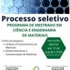 Processo seletivo - Programa de Mestrado em Ciência e Engenharia de Materiais
