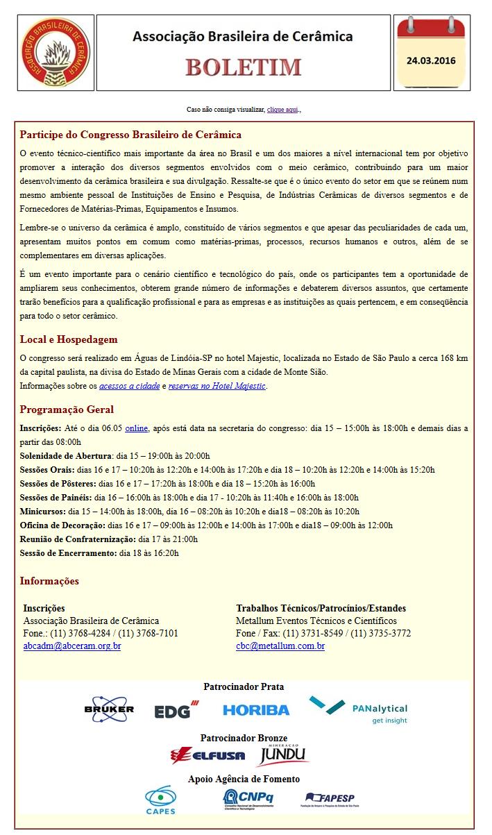 Boletim Eletrônico 24/03/2016